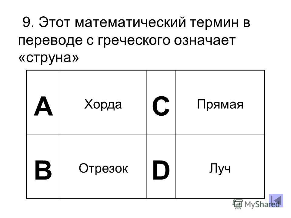 9. Этот математический термин в переводе с греческого означает «струна» А Хорда C Прямая B Отрезок D Луч