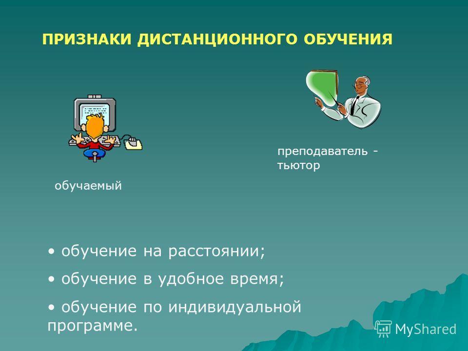 ПРИЗНАКИ ДИСТАНЦИОННОГО ОБУЧЕНИЯ обучение на расстоянии; обучение в удобное время; обучение по индивидуальной программе. обучаемый преподаватель - тьютор