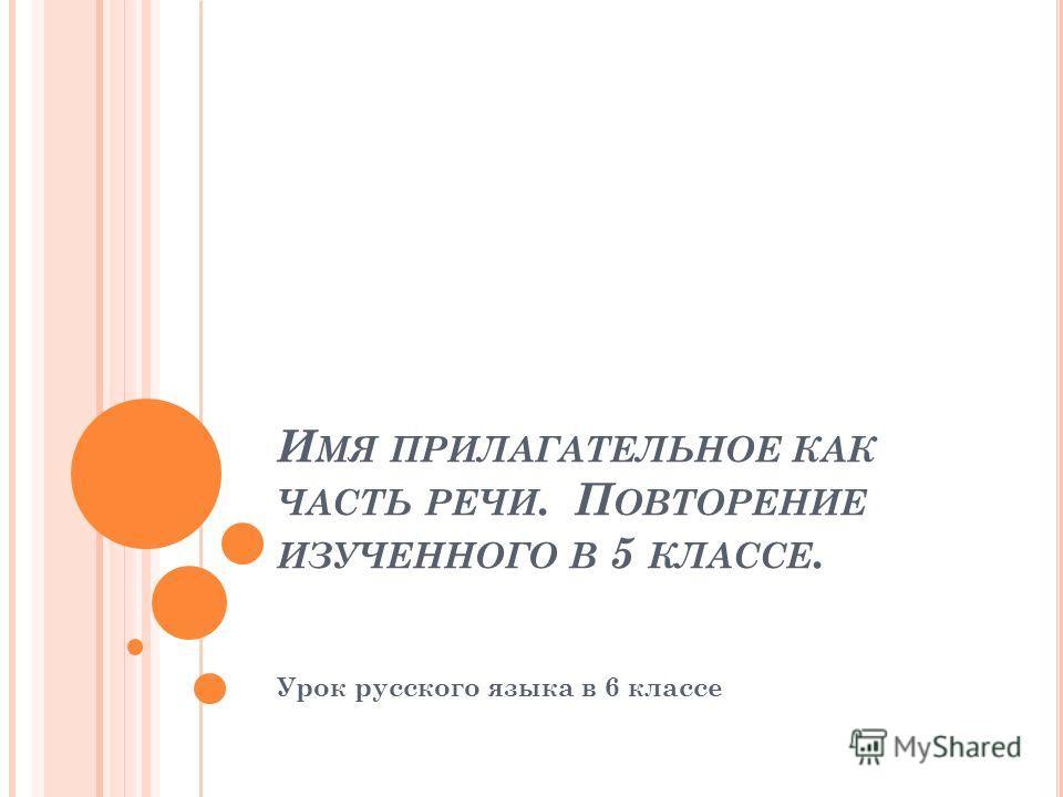 И МЯ ПРИЛАГАТЕЛЬНОЕ КАК ЧАСТЬ РЕЧИ. П ОВТОРЕНИЕ ИЗУЧЕННОГО В 5 КЛАССЕ. Урок русского языка в 6 классе