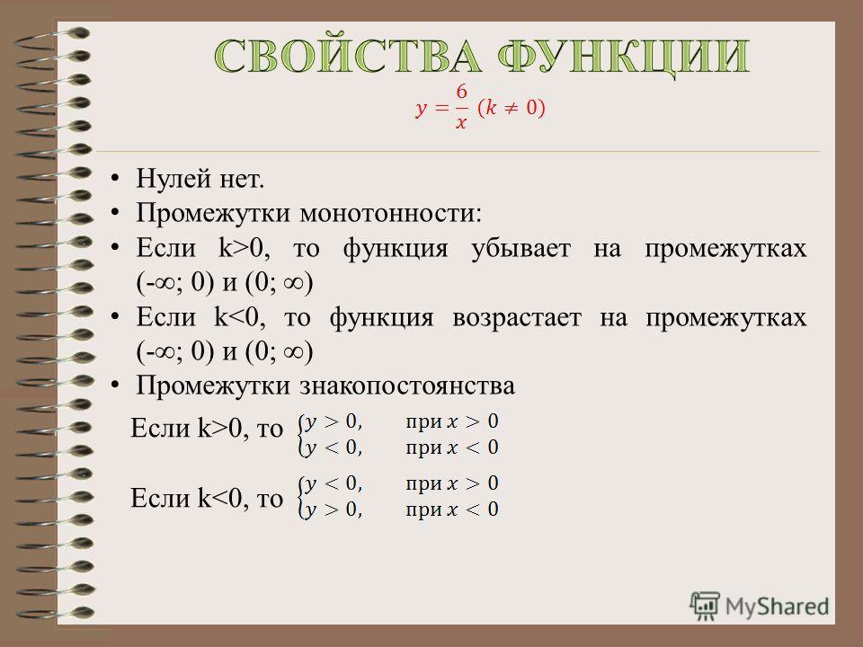 Нулей нет. Промежутки монотонности: Если k>0, то функция убывает на промежутках (- ; 0) и (0; ) Если k0, то Если k