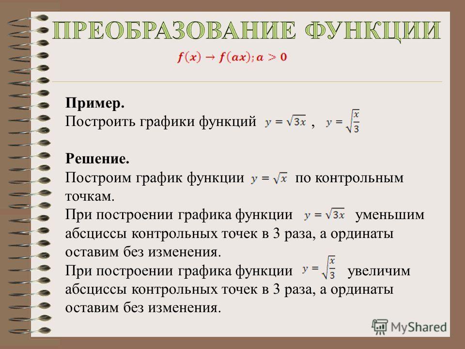 Пример. Построить графики функций, Решение. Построим график функции по контрольным точкам. При построении графика функции уменьшим абсциссы контрольных точек в 3 раза, а ординаты оставим без изменения. При построении графика функции увеличим абсциссы