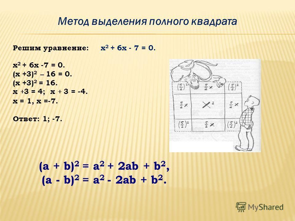Метод разложения на множители привести квадратное уравнение общего вида к виду: А(х)·В(х)=0, где А(х) и В(х) – многочлены относительно х. Цель: Вынесение общего множителя за скобки; Использование формул сокращенного умножения; Способ группировки. Спо