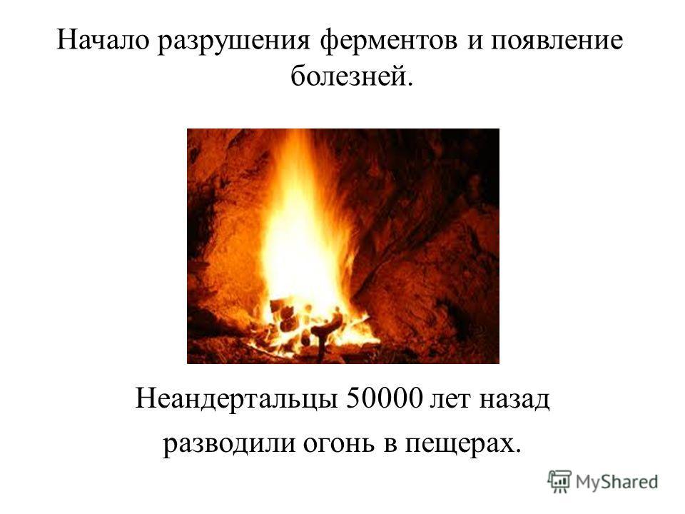 Начало разрушения ферментов и появление болезней. Неандертальцы 50000 лет назад разводили огонь в пещерах.