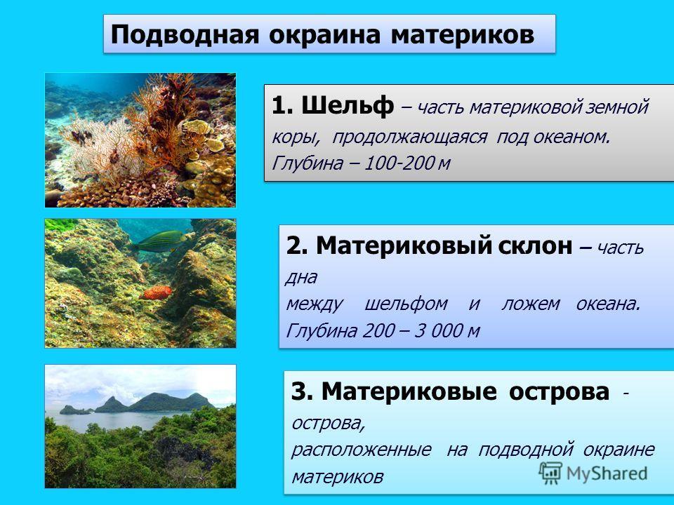 1. Шельф – часть материковой земной коры, продолжающаяся под океаном. Глубина – 100-200 м 1. Шельф – часть материковой земной коры, продолжающаяся под океаном. Глубина – 100-200 м 2. Материковый склон – часть дна между шельфом и ложем океана. Глубина