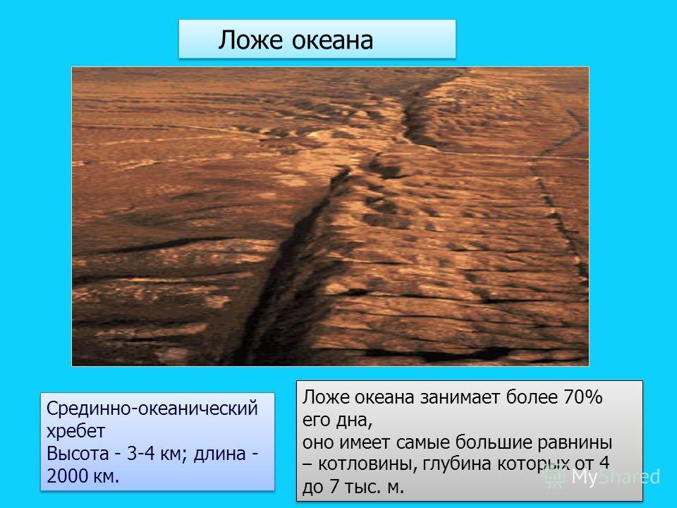 Срединно-океанический хребет Высота - 3-4 км; длина - 2000 км. Срединно-океанический хребет Высота - 3-4 км; длина - 2000 км. Ложе океана занимает более 70% его дна, оно имеет самые большие равнины – котловины, глубина которых от 4 до 7 тыс. м. Ложе