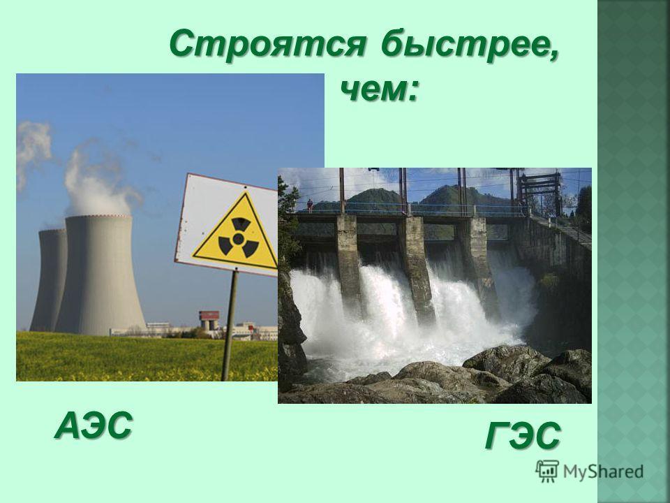 Строятся быстрее, чем: АЭС ГЭС
