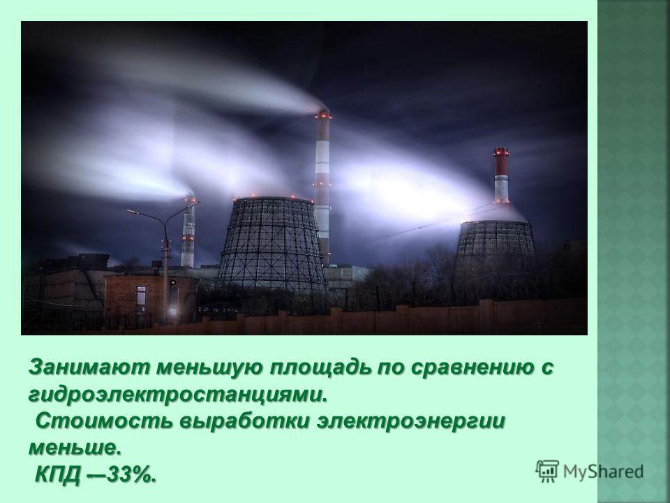 Занимают меньшую площадь по сравнению с гидроэлектростанциями. Стоимость выработки электроэнергии меньше. КПД -–33%. КПД -–33%.