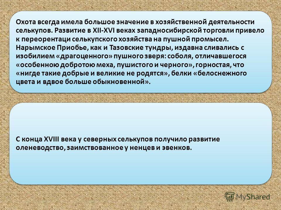 Охота всегда имела большое значение в хозяйственной деятельности селькупов. Развитие в XII-XVI веках западносибирской торговли привело к переорентаци селькупского хозяйства на пушной промысел. Нарымское Приобье, как и Тазовские тундры, издавна сливал