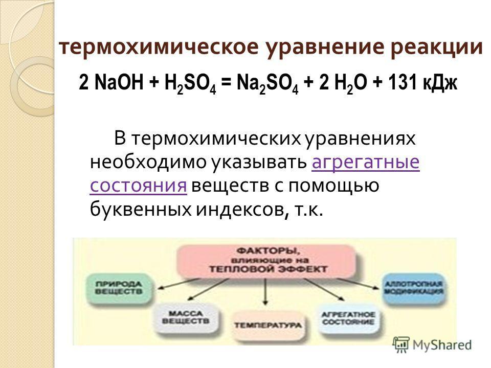 термохимическое уравнение реакции 2 NaOH + H 2 SO 4 = Na 2 SO 4 + 2 H 2 O + 131 кДж В термохимических уравнениях необходимо указывать агрегатные состояния веществ с помощью буквенных индексов, т. к.