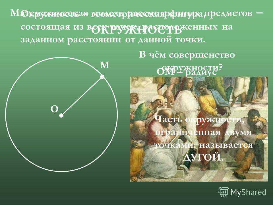 Математическая модель рассмотренных предметов – ОКРУЖНОСТЬ О М Окружность – геометрическая фигура, состоящая из всех точек, расположенных на заданном расстоянии от данной точки. О – центр окружности ОМ – радиус В чём совершенство окружности? Часть ок