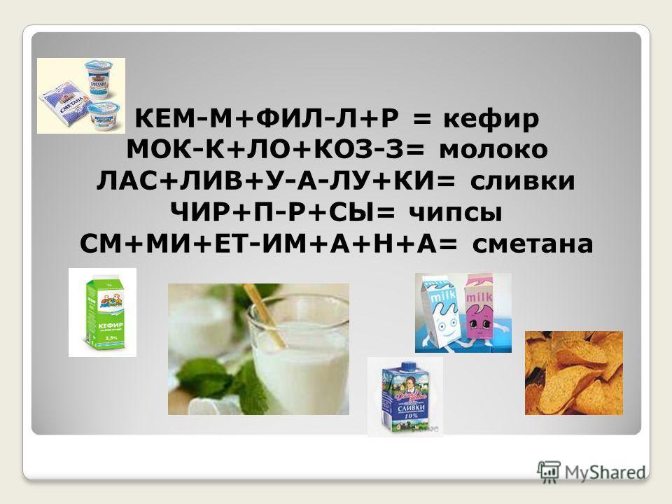 КЕМ-М+ФИЛ-Л+Р = кефир МОК-К+ЛО+КОЗ-З= молоко ЛАС+ЛИВ+У-А-ЛУ+КИ= сливки ЧИР+П-Р+СЫ= чипсы СМ+МИ+ЕТ-ИМ+А+Н+А= сметана