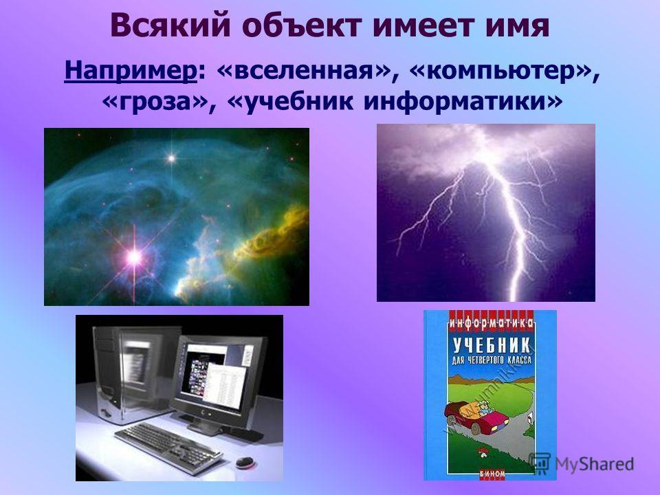 Всякий объект имеет имя Например: «вселенная», «компьютер», «гроза», «учебник информатики»