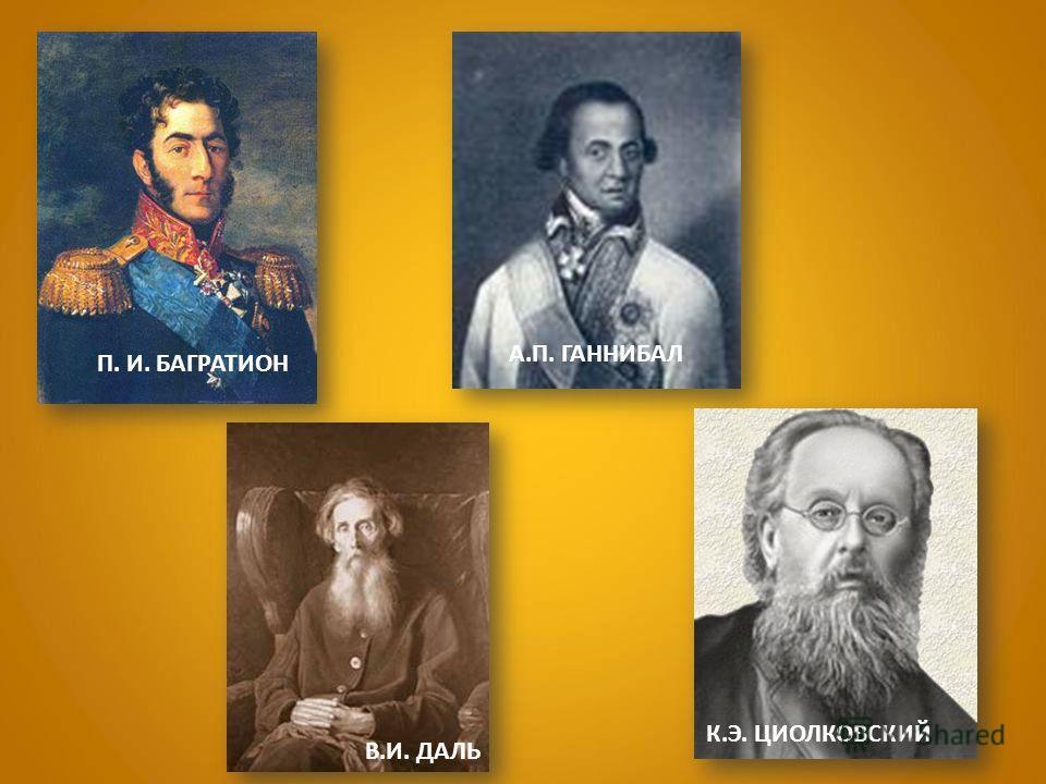П. И. БАГРАТИОН А.П. ГАННИБАЛ В.И. ДАЛЬ К.Э. ЦИОЛКОВСКИЙ