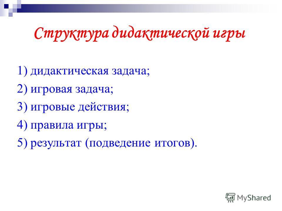 Структура дидактической игры 1) дидактическая задача; 2) игровая задача; 3) игровые действия; 4) правила игры; 5) результат (подведение итогов).
