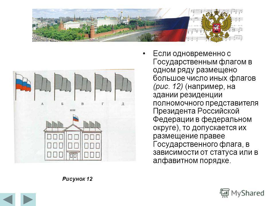 Если одновременно с Государственным флагом в одном ряду размещено большое число иных флагов (рис. 12) (например, на здании резиденции полномочного представителя Президента Российской Федерации в федеральном округе), то допускается их размещение праве