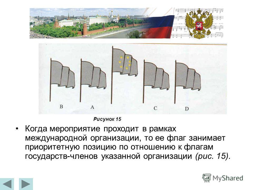 Когда мероприятие проходит в рамках международной организации, то ее флаг занимает приоритетную позицию по отношению к флагам государств-членов указанной организации (рис. 15). Рисунок 15