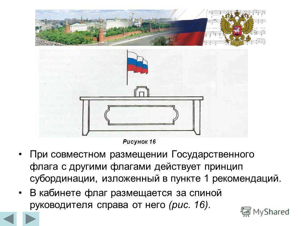 При совместном размещении Государственного флага с другими флагами действует принцип субординации, изложенный в пункте 1 рекомендаций. В кабинете флаг размещается за спиной руководителя справа от него (рис. 16). Рисунок 16