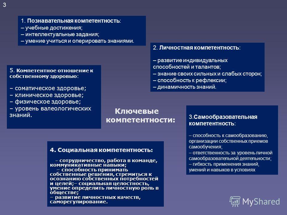 Структура ключевых компетентностей представлена: компетентность в сфере самостоятельной познавательной деятельности, основанная на усвоении способов приобретения знаний из различных источников информации, в том числе внешкольных; компетентность в сфе