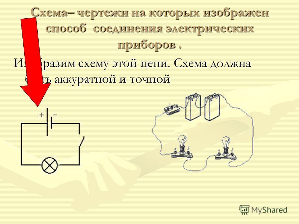 Схема– чертежи на которых изображен способ соединения электрических приборов. Изобразим схему этой цепи. Схема должна быть аккуратной и точной