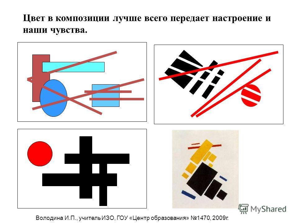 Цвет в композиции лучше всего передает настроение и наши чувства. Володина И.П., учитель ИЗО, ГОУ «Центр образования» 1470, 2009г.
