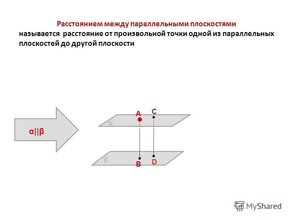 Расстоянием между параллельными плоскостями называется расстояние от произвольной точки одной из параллельных плоскостей до другой плоскости А В С D β α AB=CD α||β