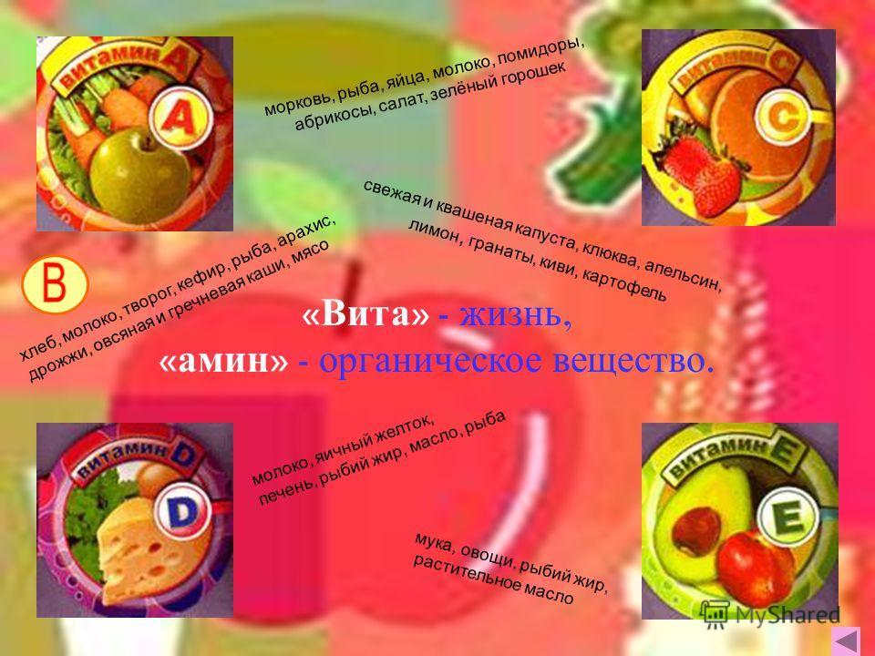 « Вита » - ж изнь, « амин » - о рганическое в ещество. морковь, рыба, яйца, молоко, помидоры, абрикосы, салат, зелёный горошек свежая и квашеная капуста, клюква, апельсин, лимон, гранаты, киви, картофель молоко, яичный желток, печень, рыбий жир, масл