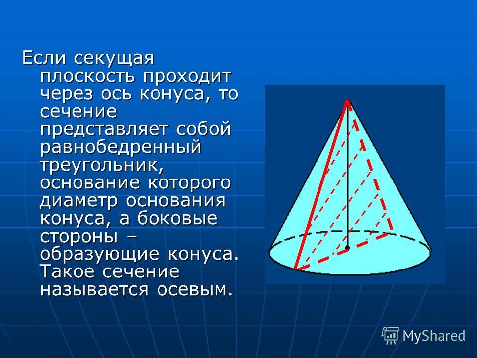 Если секущая плоскость проходит через ось конуса, то сечение представляет собой равнобедренный треугольник, основание которого диаметр основания конуса, а боковые стороны – образующие конуса. Такое сечение называется осевым.