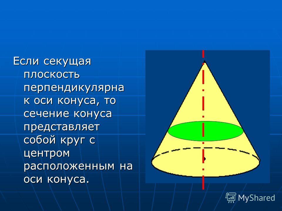 Если секущая плоскость перпендикулярна к оси конуса, то сечение конуса представляет собой круг с центром расположенным на оси конуса.