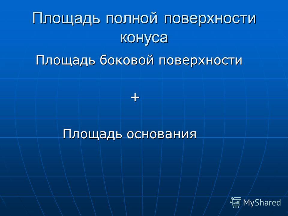 Площадь полной поверхности конуса Площадь боковой поверхности Площадь боковой поверхности + Площадь основания Площадь основания