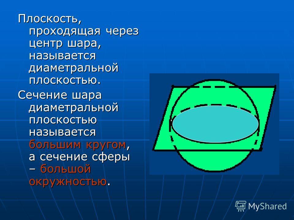 Плоскость, проходящая через центр шара, называется диаметральной плоскостью. Сечение шара диаметральной плоскостью называется большим кругом, а сечение сферы – большой окружностью.