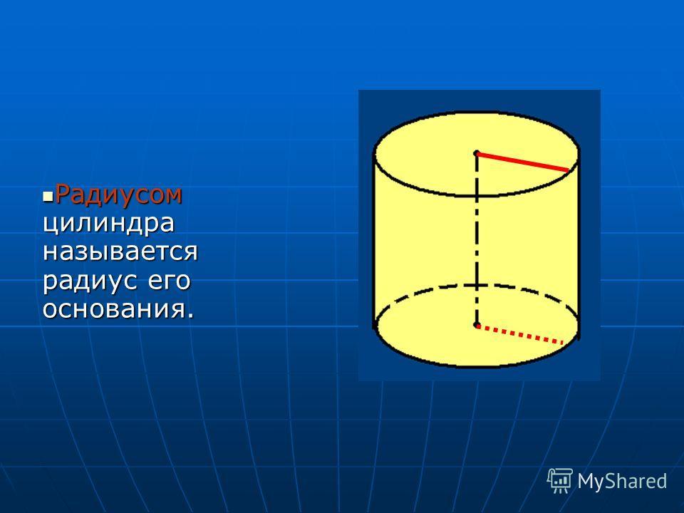 Радиусом цилиндра называется радиус его основания. Радиусом цилиндра называется радиус его основания.