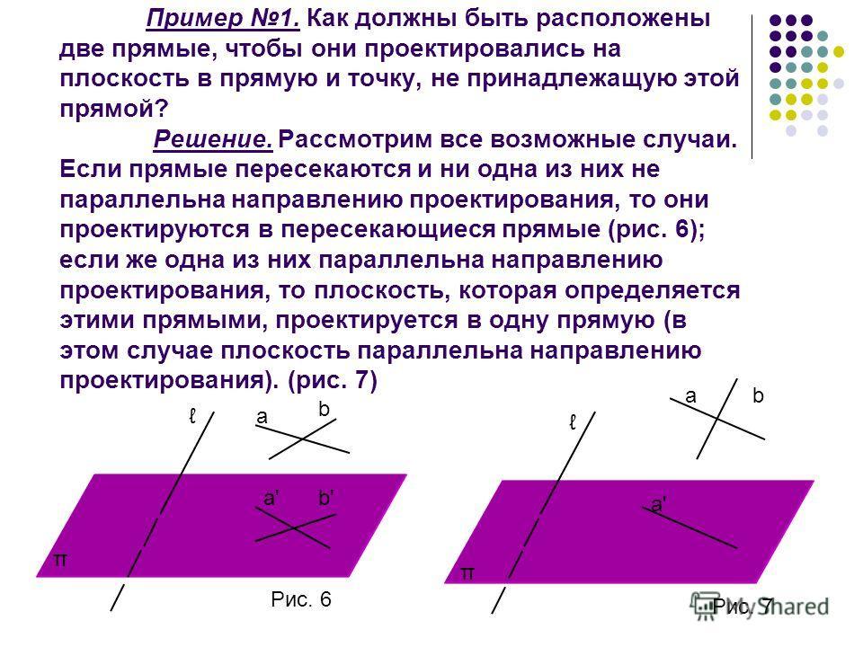 Пример 1. Как должны быть расположены две прямые, чтобы они проектировались на плоскость в прямую и точку, не принадлежащую этой прямой? Решение. Рассмотрим все возможные случаи. Если прямые пересекаются и ни одна из них не параллельна направлению пр