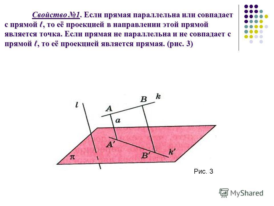 Свойство 1. Если прямая параллельна или совпадает с прямой, то её проекцией в направлении этой прямой является точка. Если прямая не параллельна и не совпадает с прямой, то её проекцией является прямая. (рис. 3) Рис. 3
