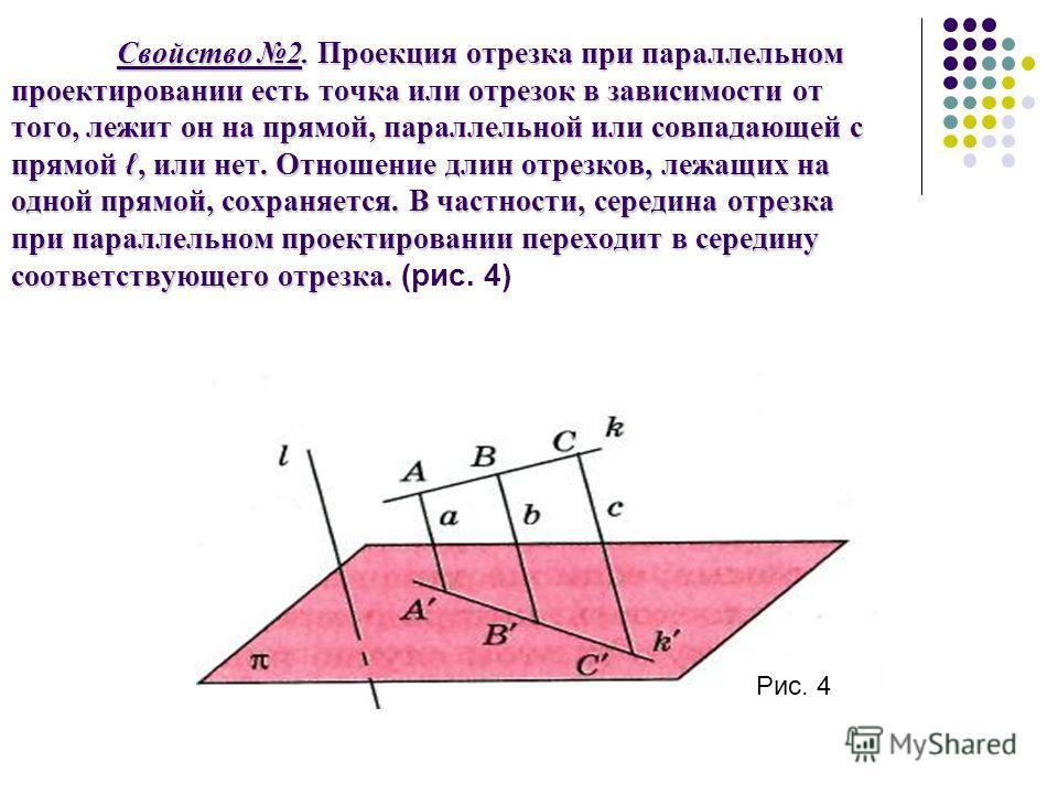 Свойство 2. Проекция отрезка при параллельном проектировании есть точка или отрезок в зависимости от того, лежит он на прямой, параллельной или совпадающей с прямой, или нет. Отношение длин отрезков, лежащих на одной прямой, сохраняется. В частности,