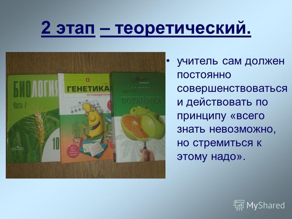2 этап – теоретический. учитель сам должен постоянно совершенствоваться и действовать по принципу «всего знать невозможно, но стремиться к этому надо».