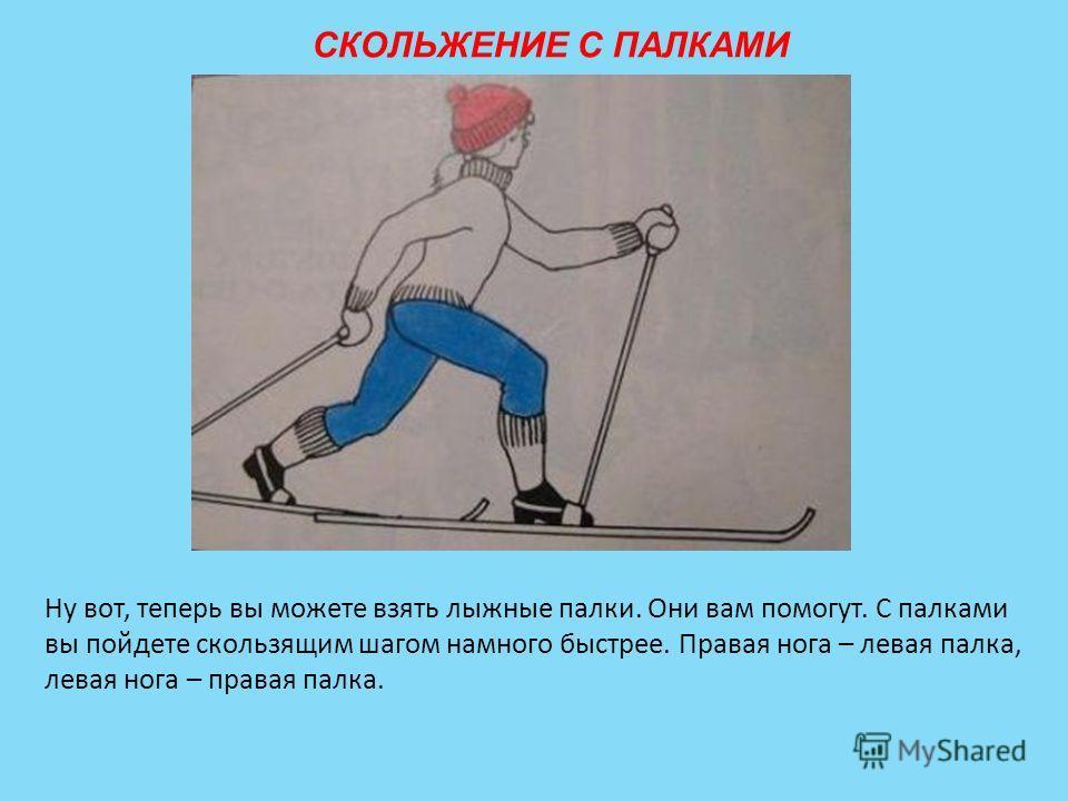 СКОЛЬЖЕНИЕ С ПАЛКАМИ Ну вот, теперь вы можете взять лыжные палки. Они вам помогут. С палками вы пойдете скользящим шагом намного быстрее. Правая нога – левая палка, левая нога – правая палка.