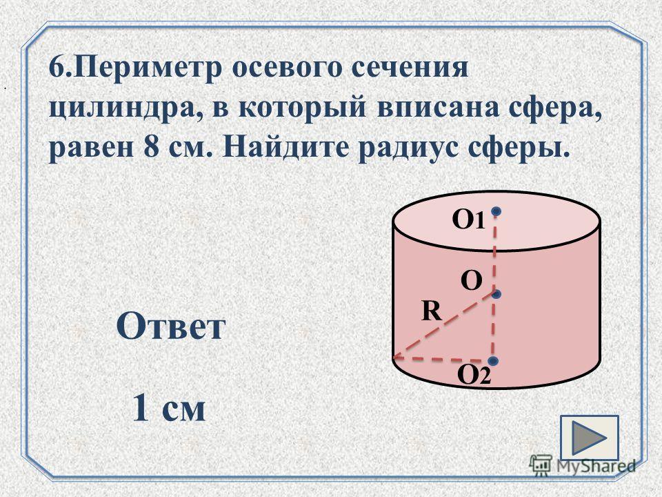. О О1О1 R О2О2 6.Периметр осевого сечения цилиндра, в который вписана сфера, равен 8 см. Найдите радиус сферы. Ответ 1 см