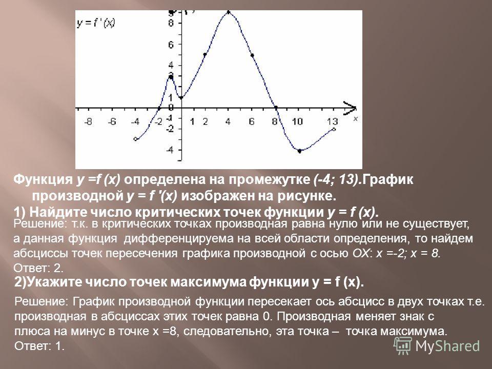 Функция у =f (х) определена на промежутке (-4; 13).График производной у = f '(x) изображен на рисунке. 1) Найдите число критических точек функции у = f (x). Решение: График производной функции пересекает ось абсцисс в двух точках т.е. производная в а