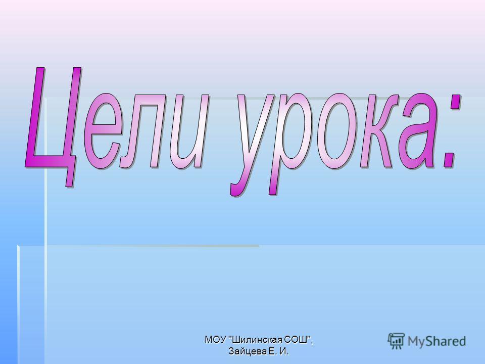 МОУ Шилинская СОШ, Зайцева Е. И.