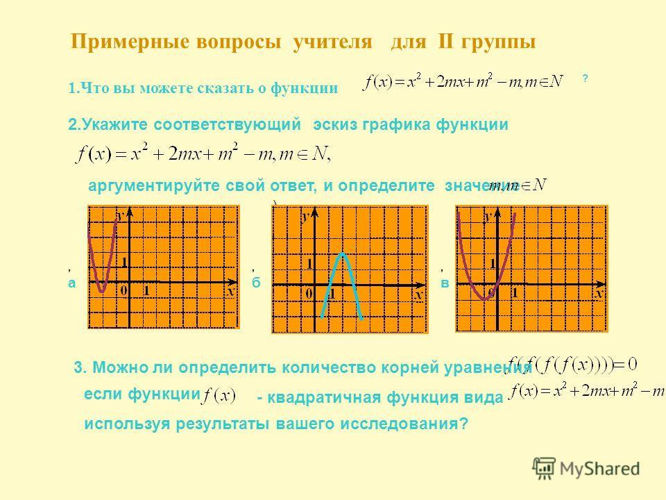 аргументируйте свой ответ, и определите значение Примерные вопросы учителя для II группы 1.Что вы можете сказать о функции ? 2.Укажите соответствующий эскиз графика функции. ),a,a,б,б,в,в 3. Можно ли определить количество корней уравнения если функци