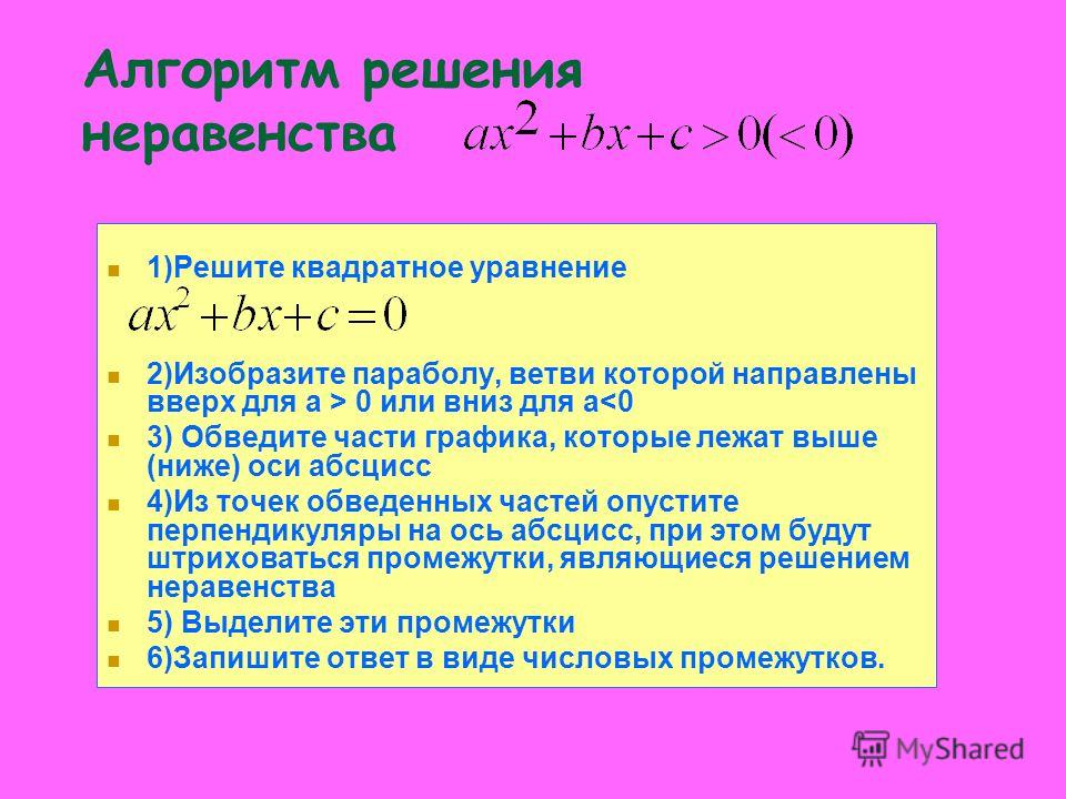 1)Решите квадратное уравнение 2)Изобразите параболу, ветви которой направлены вверх для а > 0 или вниз для а