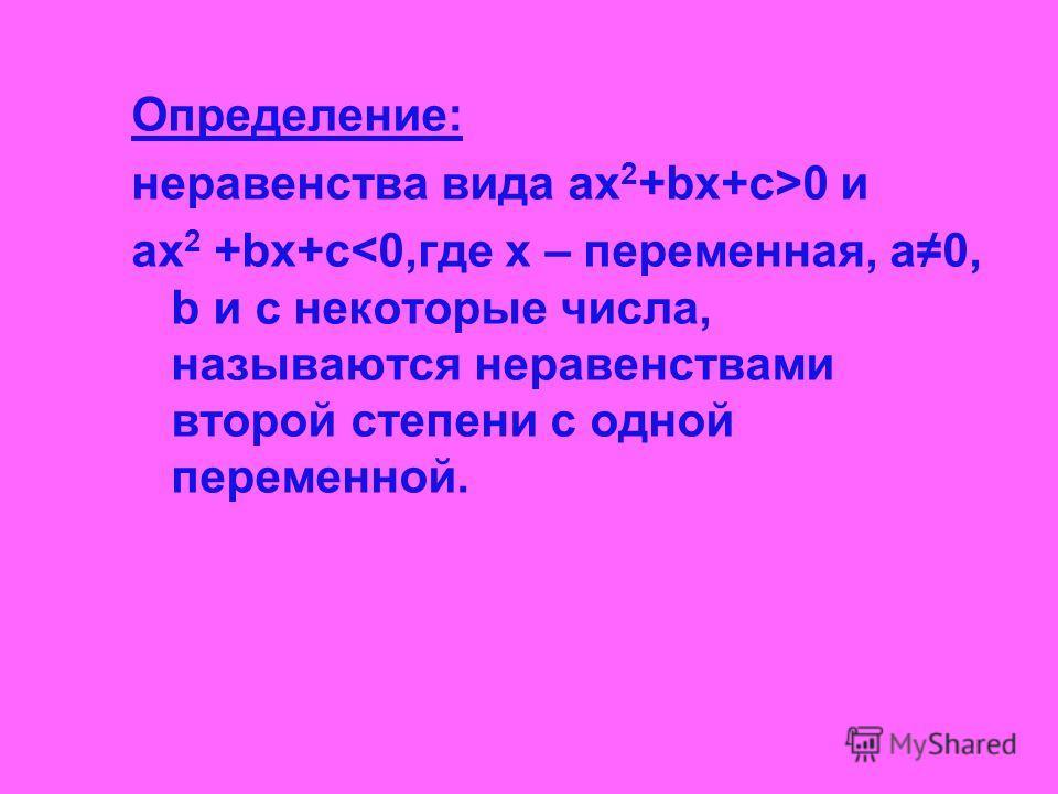 Определение: неравенства вида ах 2 +bx+c>0 и ах 2 +bx+c