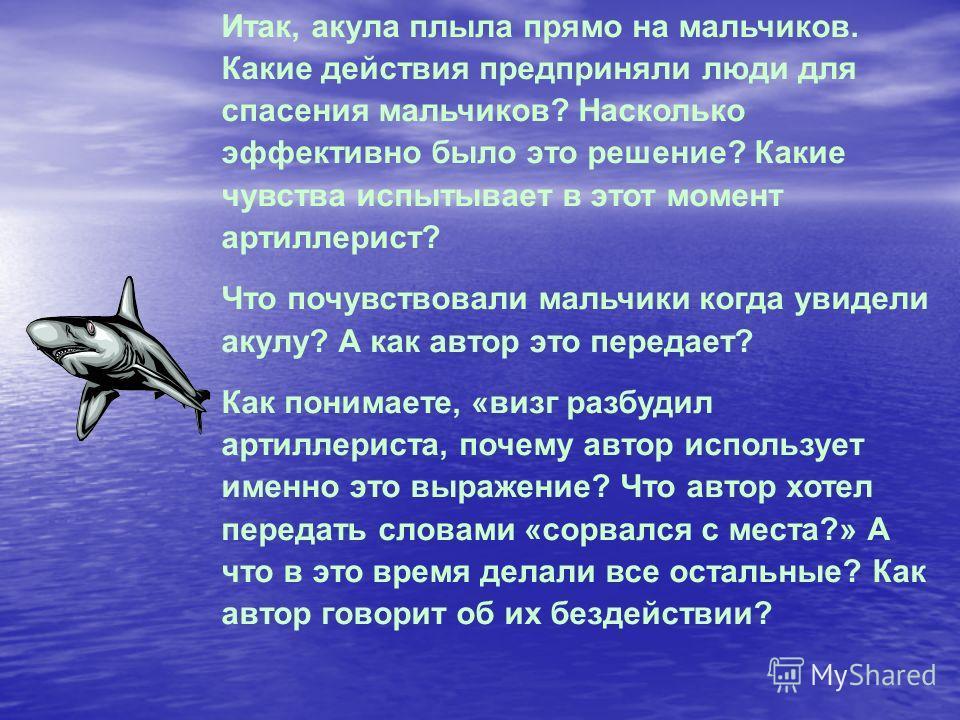 Итак, акула плыла прямо на мальчиков. Какие действия предприняли люди для спасения мальчиков? Насколько эффективно было это решение? Какие чувства испытывает в этот момент артиллерист? Что почувствовали мальчики когда увидели акулу? А как автор это п