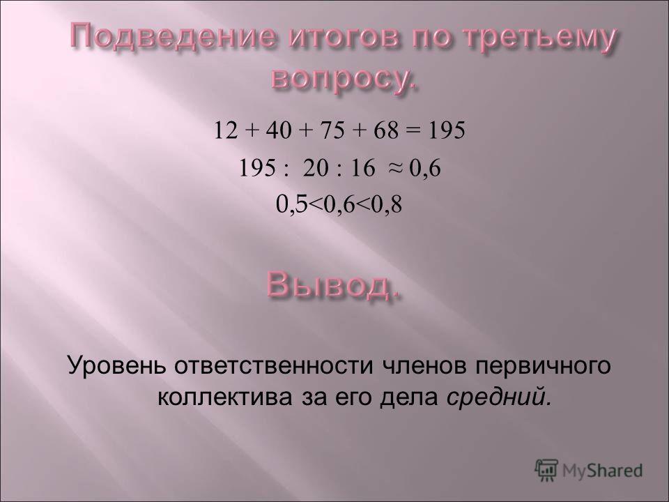 12 + 40 + 75 + 68 = 195 195 : 20 : 16 0,6 0,5