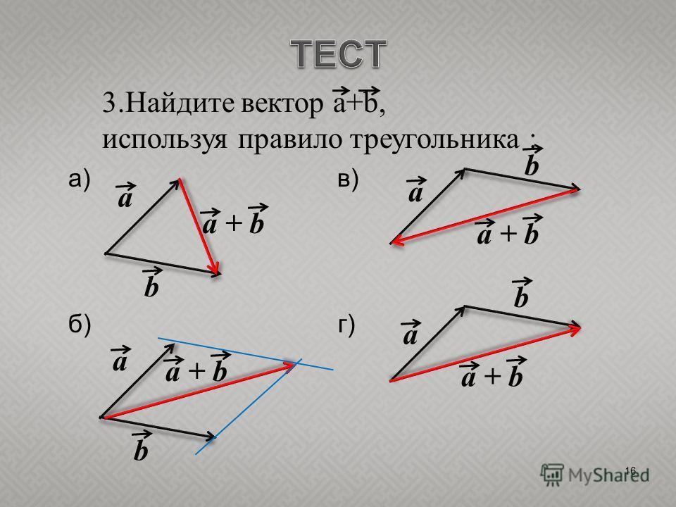 16 3.Найдите вектор a+b, используя правило треугольника : а) в) б) г) a b b b b a a a a + b