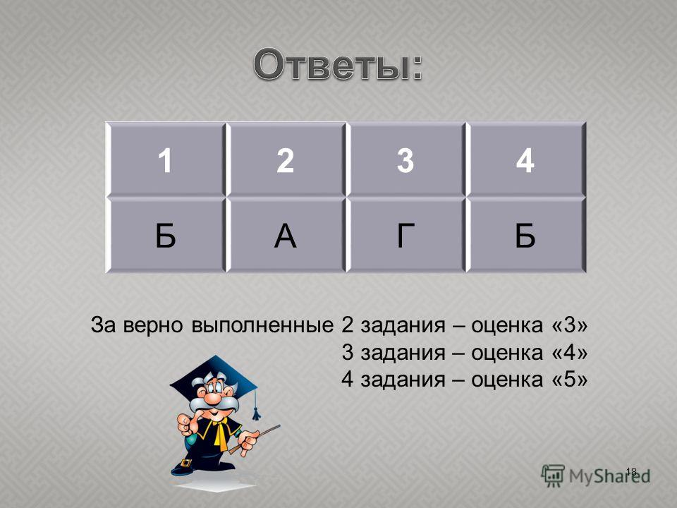 18 1234 БАГБ За верно выполненные 2 задания – оценка «3» 3 задания – оценка «4» 4 задания – оценка «5»
