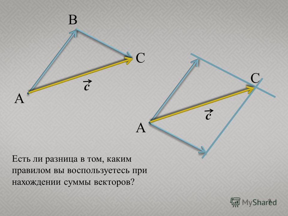 9 c A C B c A C Есть ли разница в том, каким правилом вы воспользуетесь при нахождении суммы векторов?