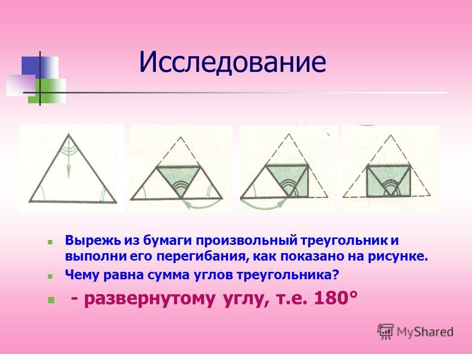 Исследование Вырежь из бумаги произвольный треугольник и выполни его перегибания, как показано на рисунке. Чему равна сумма углов треугольника? - развернутому углу, т.е. 180°