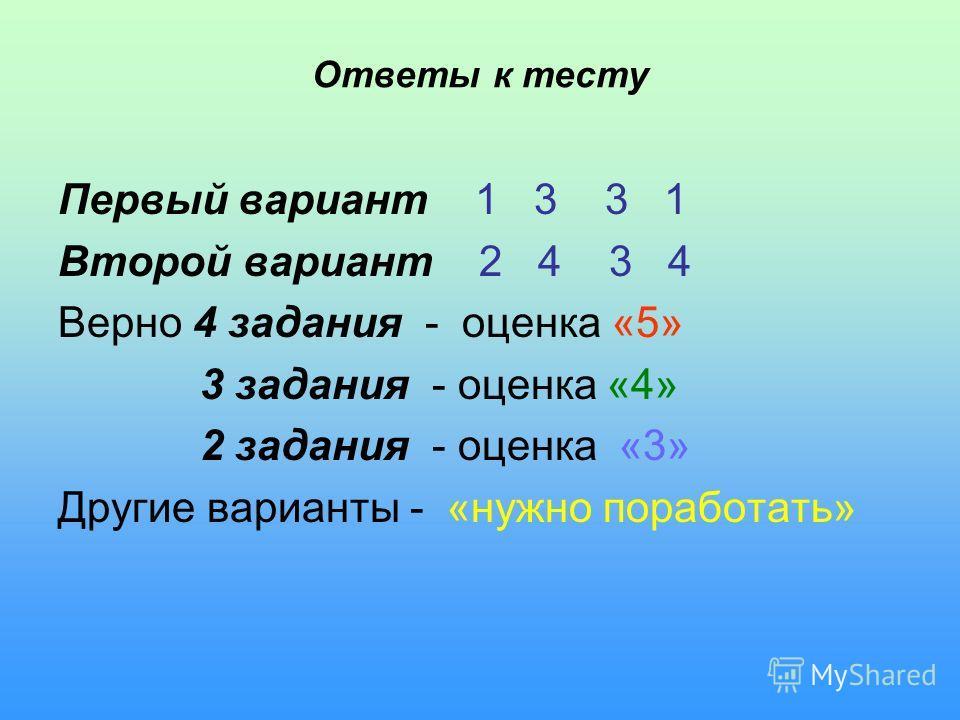Ответы к тесту Первый вариант 1 3 3 1 Второй вариант 2 4 3 4 Верно 4 задания - оценка «5» 3 задания - оценка «4» 2 задания - оценка «3» Другие варианты - «нужно поработать»