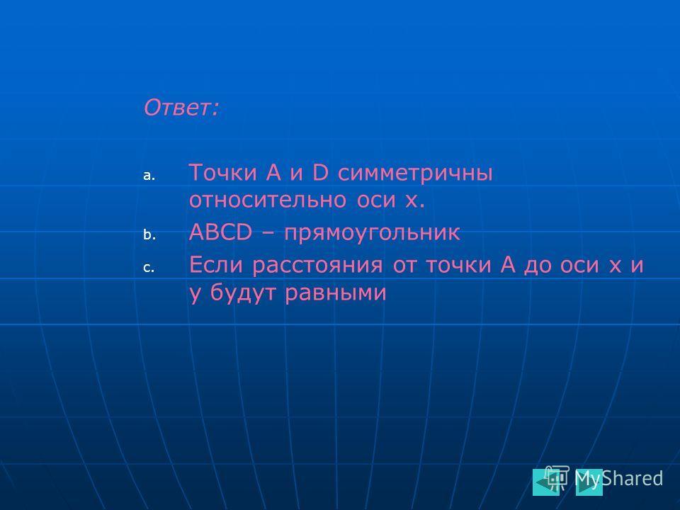 Ответ: a. a. Точки A и D симметричны относительно оси х. b. b. ABCD – прямоугольник c. c. Если расстояния от точки А до оси х и у будут равными